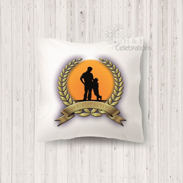 No 1 Daddy And Son Laurel Silhouette Personalised Cushion